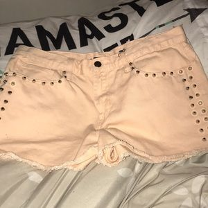 studded light pink jean shorts forever 21